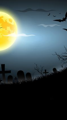Cellphone wallpaper background with a creepy motif of graveyard, bats, and moon; Scary Wallpaper, Handy Wallpaper, Funny Phone Wallpaper, Halloween Wallpaper Iphone, Fall Wallpaper, Halloween Backgrounds, Cellphone Wallpaper, Wallpaper Backgrounds, Scary Backgrounds