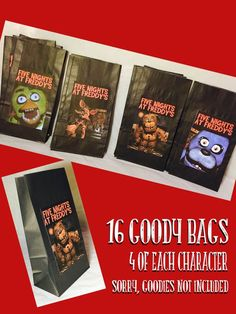 FNAF 16 Goody Bags Five Nights at Freddy's by PunchItGraphics - man bag, purse bags online, leather clutch bags *ad Birthday Party Treats, 9th Birthday Parties, 11th Birthday, Birthday Party Decorations, Birthday Ideas, Five Nights At Freddy's, Goodie Bags, Treat Bags, Party Ideas
