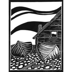 "Original lino cut print ""Fishing boats and hut on Faro"" £25.00"