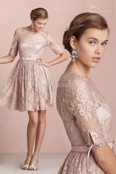 Wholesale Vintage Modest Champagne Lace Half Sleeves Knee Length Bridesmaid Dress