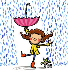 Umbrella Art, Doodle Icon, Turu, Going To Rain, Cute Doodles, Autumn Activities, Doodle Drawings, Colouring Pages, Cute Photos