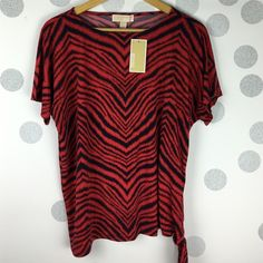 Michael Kors red and navy tiger striped tie blouse Brand new with $90 tags. Size medium. A loose and flattering fit. Cool and casual and a great day to night top. Michael Kors Tops Blouses