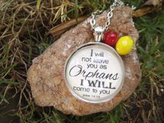 John 14:18 I Will Not Leave You as Orphans, I Will Come to You Scripture Bible Verse Necklace Charm Pendant by SweetBirdieBlessings on Etsy