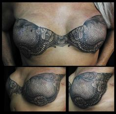 Shane Wallin designed this amazing tattoo bra for a breast cancer survivor. In honor of Breast Cancer Awareness :)