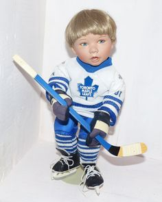 Go Leafs Go Very Collectible Doll by Tutus Tomescu For the Ashton Drake Galleries - 847 by WildroseHeaven on Etsy Hockey Gloves, Ashton Drake, Shipping Boxes, Antique Dolls, Galleries, Children, Handmade, Etsy, Beautiful