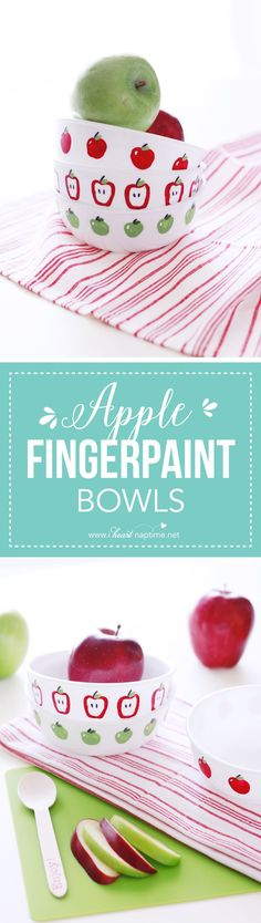 Apple Fingerpaint Bowls… fun finger paint DIY that you and your kids can enjoy making together! Makes a wonderful teacher gift or autumn decoration for your home.