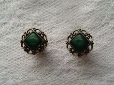 Green and Gold Tone Victorian Vintage Style Plugs Gauges Size: 2g (6mm), 0g (8mm), 00g (10mm) by PorcupineSpines, $22.00