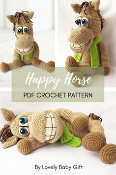Crochet Pattern to make Amigurumi Horse Toy. This animal toy will be a perfect huggable friend for a child or as decor in nursery room. Amigurumi pattern is easy to follow and has many detailed pictures to help you on the way. #amigurumipattern #animalcrochet #lovelybabygift #haakpatroon Crochet Patterns For Beginners, Crochet Toys Patterns, Amigurumi Patterns, Stuffed Toys Patterns, Knitting Patterns, Farm Animal Toys, Farm Animals, Crochet Gifts, Diy Crochet