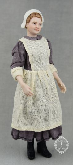 Victorian era scullery maid in 1:12 scale, porcelain dollhouse doll. Film Photography Tips, Dollhouse Dolls, Victorian Era, Porcelain, Crochet Hats, High Neck Dress, Gallery, Maid, Scale