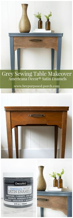 Brepurposed | Grey Sewing Table Makeover with Americana Decor Satin Enamels…