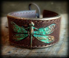 Vintage Brass Dragon Fly on Leather Cuff Bangle by yuccabloom