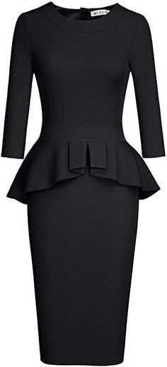 bdb33fb008 MUXXN Women s Retro Vintage Tea Length Business Formal Dress (Black XL) at Amazon  Women s