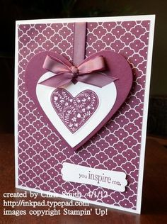 Stampin' Up! ... handmade Valentine card ... deep purple and white ... patterned papers ... layered hear ... perfect bow ... lovley!
