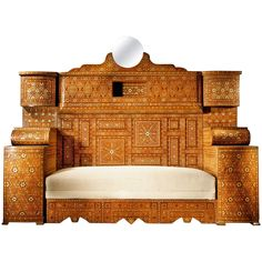 Large Intricately and Extensively Inlaid Syrian Sofa, circa 1880 | From a unique collection of antique and modern day beds at https://www.1stdibs.com/furniture/seating/day-beds/