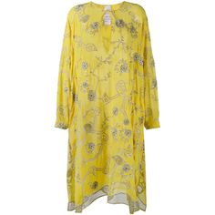 Ashish Ashish Embroidered Kaftan Dress ($2,055) ❤ liked on Polyvore featuring dresses, embroidery dress, yellow kaftan dress, silk caftan dress, embroidered dress and silk dress