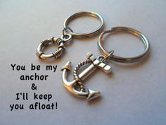 Anchor & Rope Keychain Set, Couple Key Ring Gift, Husband Wife, Girlfriend Boyfriend, Best Friends, Monogram Initial Option, Necklace Option, Valentines Day Gift Ideas, card, Anniversary Gift