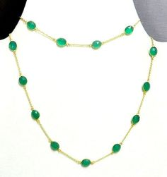 Green Onyx Bezel Setting Brass Gold Plated Long Chain Gemstone Necklace #Handmade #Chain