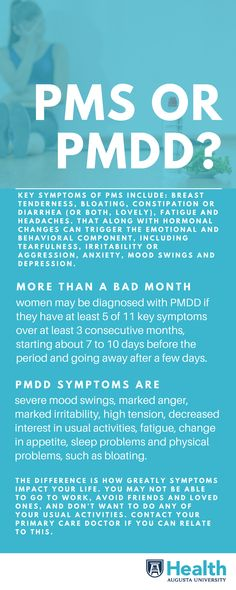Most women experience some sort of PMS symptom from mild to discomforting but severe symptoms are in a category all their own and are known as premenstrual dysphoric disorder or PMDD.