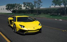 Lataa kuva Lamborghini Aventador, 2017, sport auto, keltainen Aventador, Aventador tuning, Italian autot, Rotiform DVO, Lamborghini