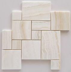 Premium White Onyx VEIN-CUT 4-Pieced OPUS Mini-Pattern Polished Mosaic Tile