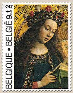 Belgian Stamps Culture : 'aanbidding van het Lam Gods. Holy Mary