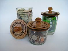 Set of 3 Glass Stash Jars with Laser Engraved Wooden Lids by WearhouseIndustries on Etsy
