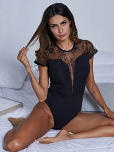 ee4e0059c80 Embroidered Mesh Insert Teddy Bodysuit - Popviva