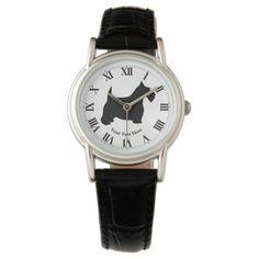 Scottish Terrier in Black Personalize Wrist Watches  #Black #personalize #Scottish #Terrier #watches #Wrist MonitorWatches.com