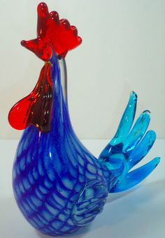 Murano Hand Blown Clear Blue Glass Rooster