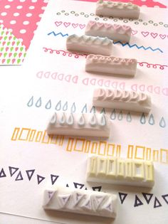geometric stamp. border hand carved rubber stamp. por talktothesun