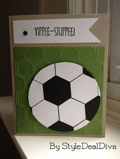 Yippee Skippee Soccer Star Card by StyleDealDiva on Etsy, $4.00 Perfect to give to that soccer coach or star scoring goals in your life. Made using card stock, ink, hexagon punch, a sizzlit, an embossing folder and a stamp by Stampin' Up!