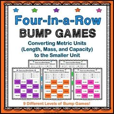 Measurement: Measurement conversions bump games contains 9 different games to help students practice converting units of length, mass, and capacity in the metric system from larger units to smaller units (Common Core 4.MD.A.1).  The metric measurement units covered are kilometers, meters, centimeters, millimeters, kilograms, grams, milligrams, liters, and milliliters.