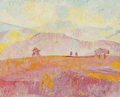Cuno Amiet (Swiss, 1868-1961),Nebellandschaft[Foggy landscape], 1922. Oil on canvas, 59.5 x 72.5cm.