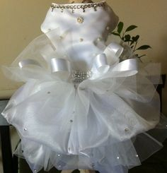 White Satin/Organza dog dress embellished w/Swarovski crystals ,Pearls,Rhinestones.Availavle in XS,S,M,L  $ 80-115 Can. plus shipping.  FOR ORDER: lavitapetfashion@gmail.com