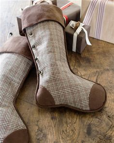 "Glen Plaid Stocking | Balsam Hill Measures 24""l x 14""w Features Glen Plaid pattern with pearlized buttons and bronze jingle bells"