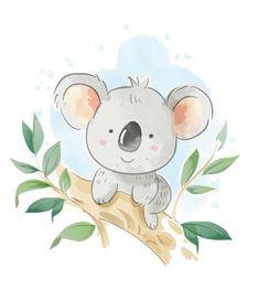 Cartoon koala sentado en la ilustración ... | Premium Vector #Freepik #vector #acuarela #vintage #arbol #diseno