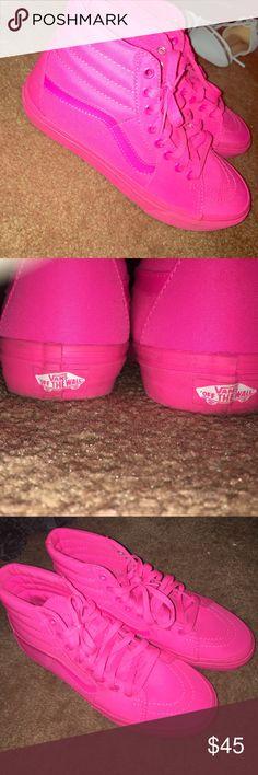 Neon Pink Sk8-hi Vans Hot pink high top vans, worn about twice! Vans Shoes Sneakers