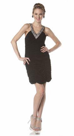 Black Cocktail Dress Beaded V Neckline Short Sexy Open Back Tight