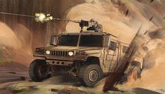 31 Alexandre Pinto Car Desert I by Alexandre Pinto Military Vehicles, Monster Trucks, Deserts, Scene, Dark, Artworks, Battle, Concept, Desserts