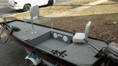 Custom Jon boat with stereo system #boatbuilding #johnboataccessories
