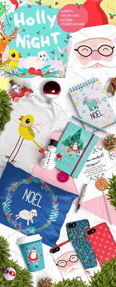 Holly Night Christmas set of goodies by Choo Studio on @creativemarket