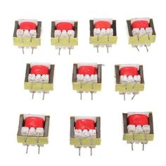 10pcs 1300 : 8 Ohm Audio Transformer Ee14 Transformateur Audio Pos Transformador. Specifications:  Model: EE14 AC impedance : 1300:8 Size: about 13mm x 11mm x 6mm Quantity:10pcs Frequency Type: High Frequency The spacing between the two needles is 5.0mm, 0.7mm rough for the pin.  Package included:  10 x 1300:8 Audio Transformer