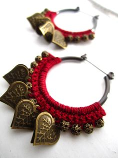 Crocheted Hoops with hearts and beads ❤ by BohemianHooksJewelry, $14.00 - like the red thread with gold charms/beads combo