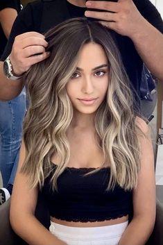Brown Ombre Hair, Brown Blonde Hair, Brown Hair Dyes, Brown Hair With Silver Highlights, Dark Ash Brown Hair, Ombre Hair Brunette, Ombre Hair Color For Brunettes, Silver Ombre, Dark Roots Blonde Hair Balayage