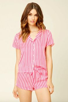 25 Perfect Pajamas For Your Next Netflix Marathon #refinery29  http://www.refinery29.com/cute-fall-pajamas#slide-11  Forever 21 Stripe Shirt PJ Set, $22.90, available at Forever 21. ...