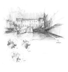 Suzanne Mathew, Piazza del Campidoglio, KRob Competition winner, 2011. Pencil. This drawing is a shadow study exploring a Roman Piazza. Different line densities and horizontal/vertical directions create different shadow values which make up the...