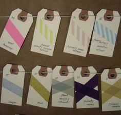 Creative Washi Tape Ideas   Escort Cards made with washi tape, Love this!
