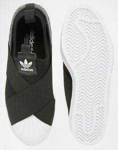 huge selection of b7121 3116c adidas Originals Black Superstar Slip On Trainers