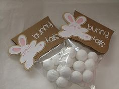 Bunny Tails-powdered donut holes or marshmallows. Bunny Poo-chocolate covered raisins, nuts or coffee beans :) Hoppy Easter, Easter Gift, Easter Bunny, Easter Eggs, Easter Food, Easter Stuff, Easter Decor, Holiday Crafts, Holiday Fun