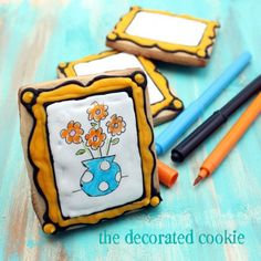 cookie canvas - the poster made these as a gift for a child but they could make a fun party activity via the decorated cookie